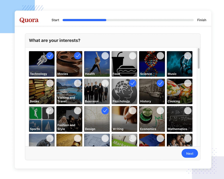 User onboarding examples - Quora