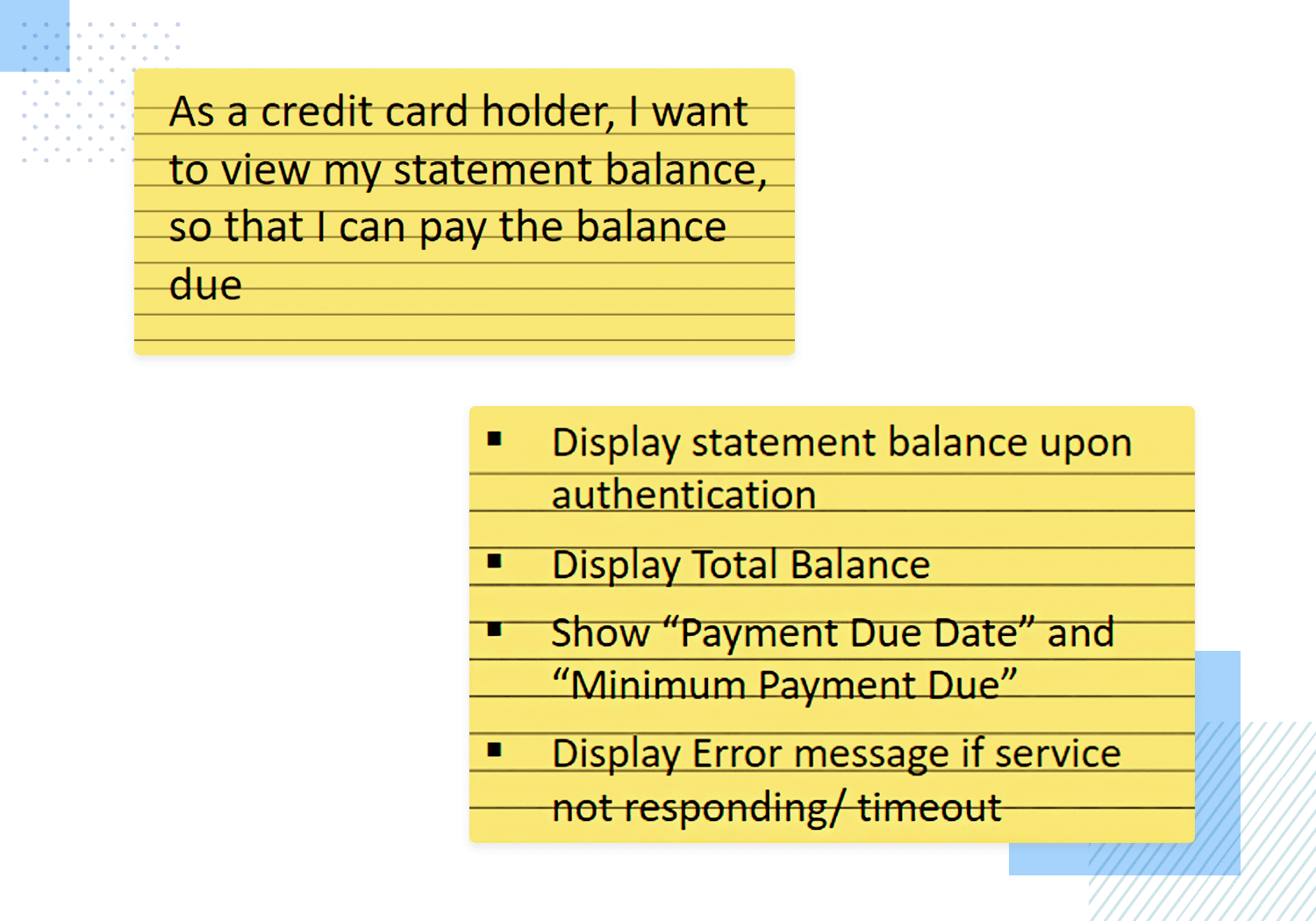 Banking app user story example