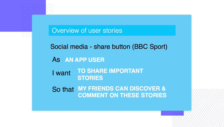 BBC Sport user story example