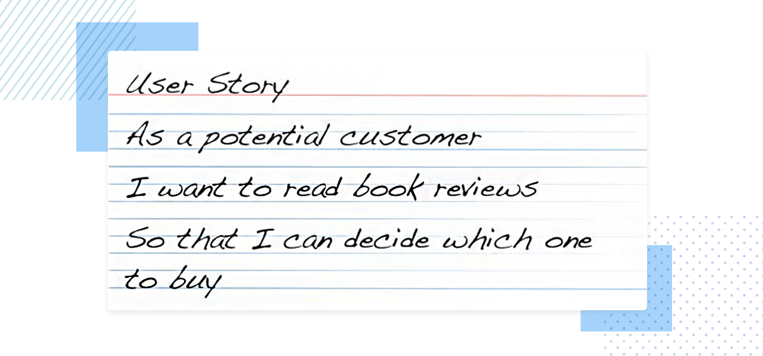 User story examples - index card