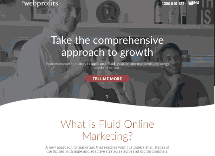 long landing page example from webprofits