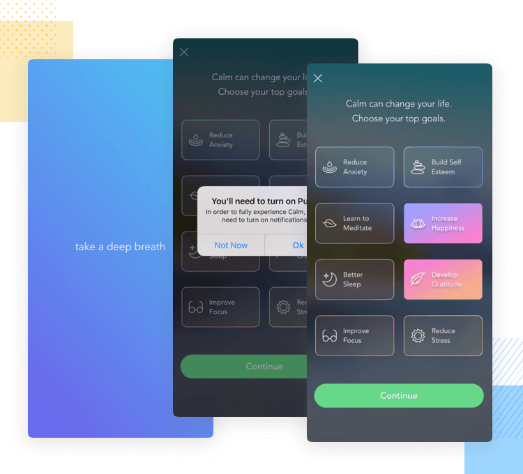 calm meditation app example of onboarding