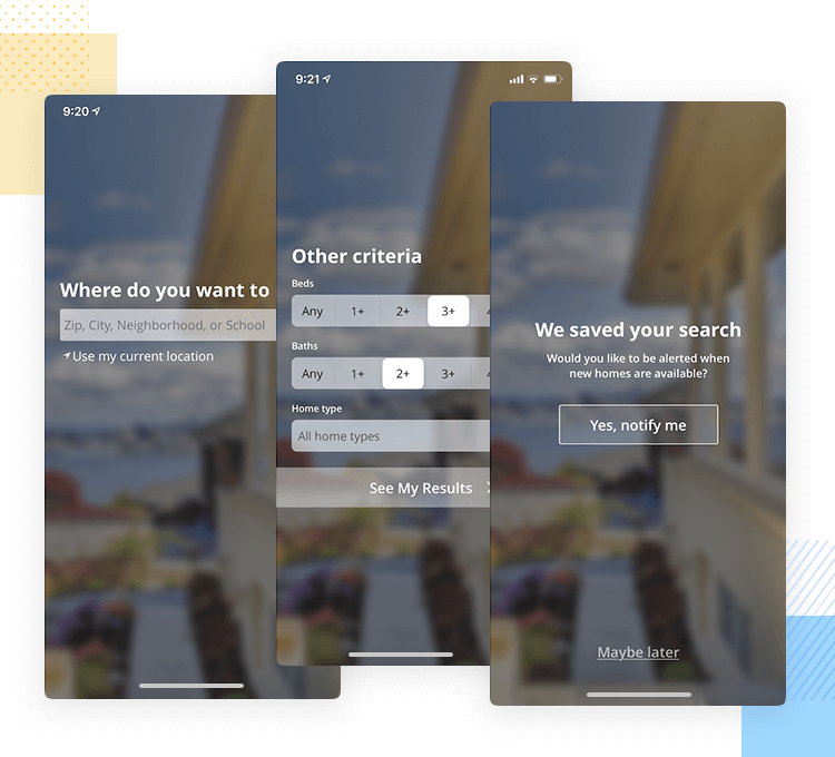 example of app onboarding that has lots of questions from estately