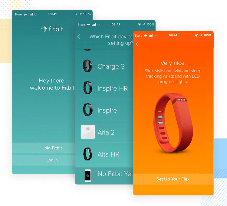 fitbit as example of onboarding with form design