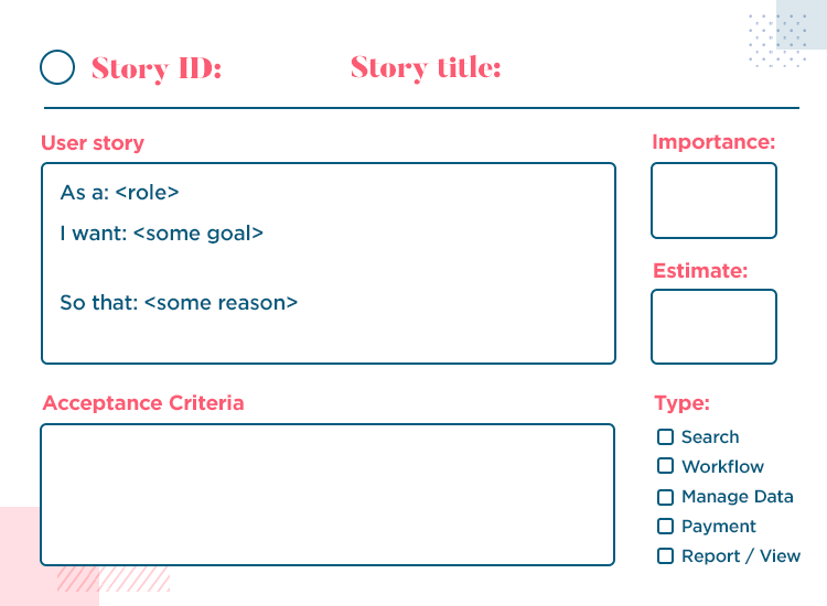Example of a user story