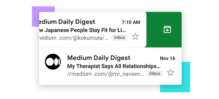 Microinteractions - Gmail swipe left/right effect to archive emails