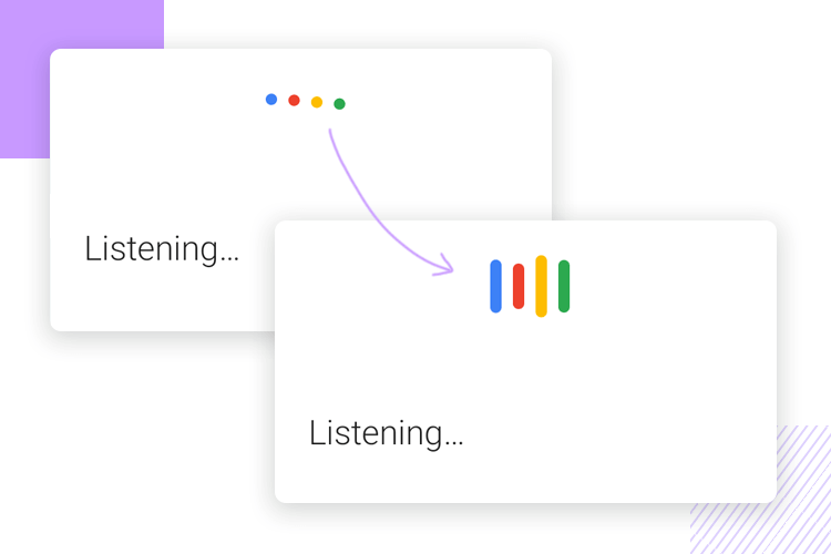 Microinteractions - Google Assistant uses floating dots for system feedback