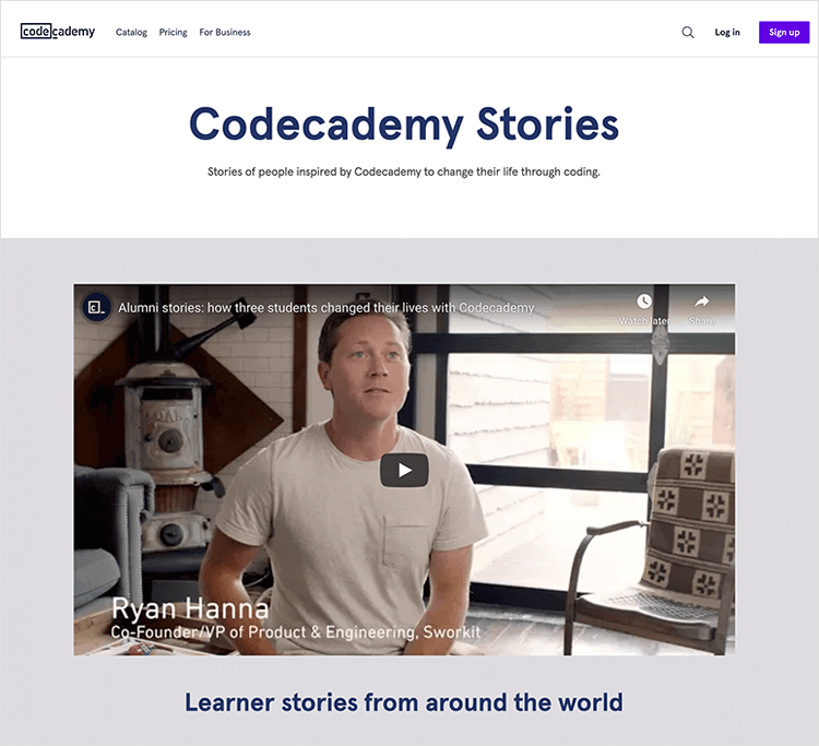 Testimonial video example - Codeacademy