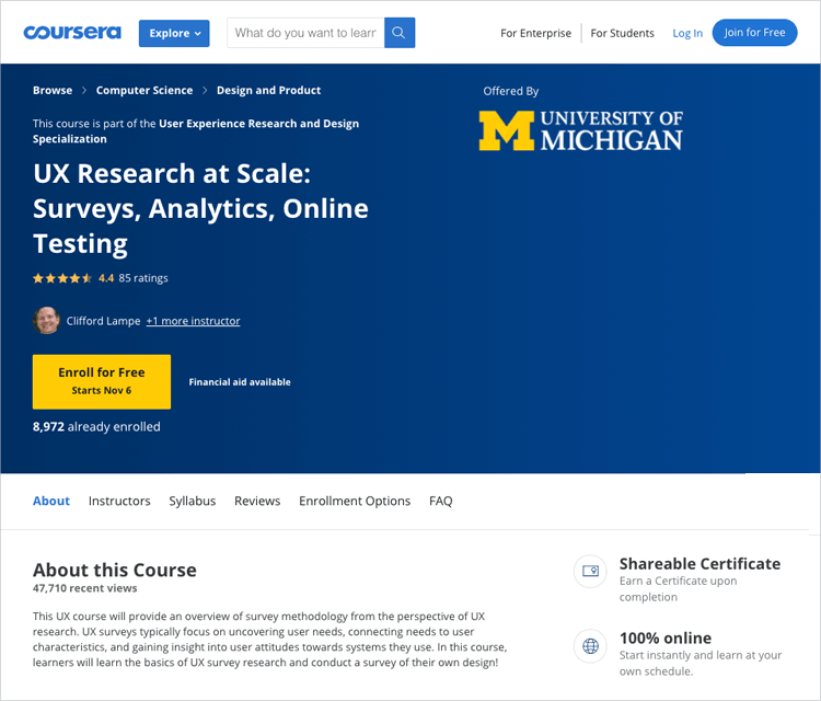 ux research at a large scale course