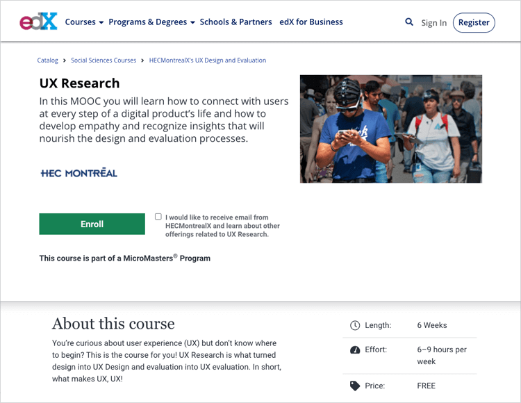 ux research course at EdX