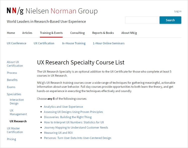 ux research speciality courses by the NN group[