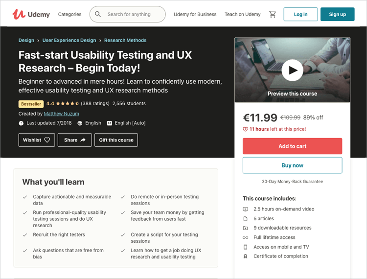 usability testing and research at coursera