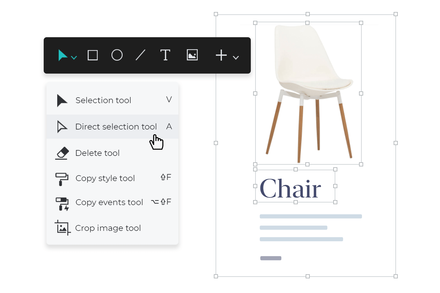 Select single elements in groups and dynamic panels - direct selection tool
