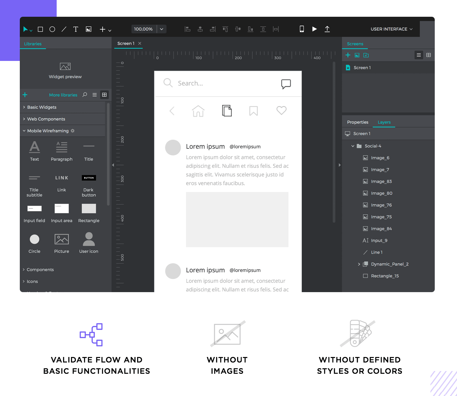 wireframes are always about functionality, not style