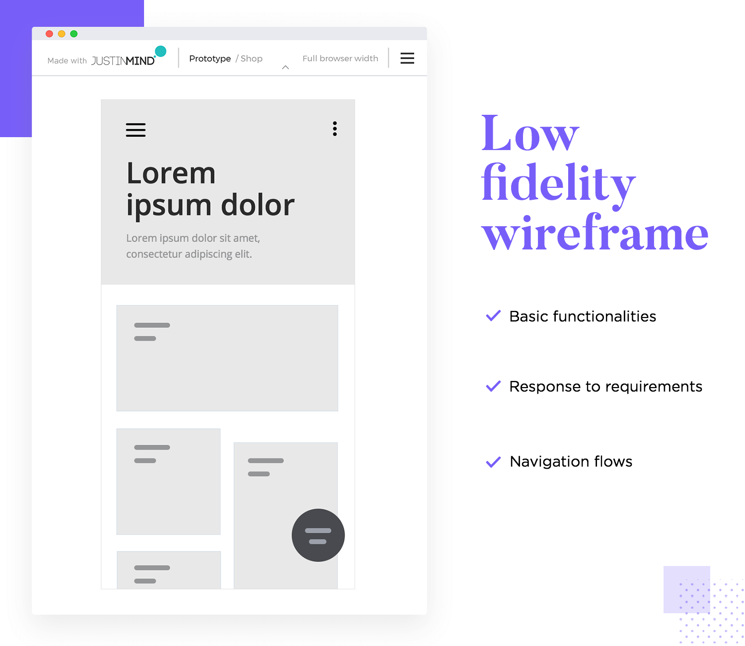low fidelity wireframes are a great way to validate with testing