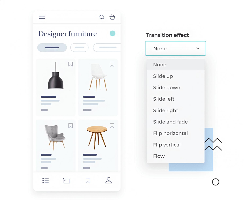 Design mobile app transitions in Justinmind