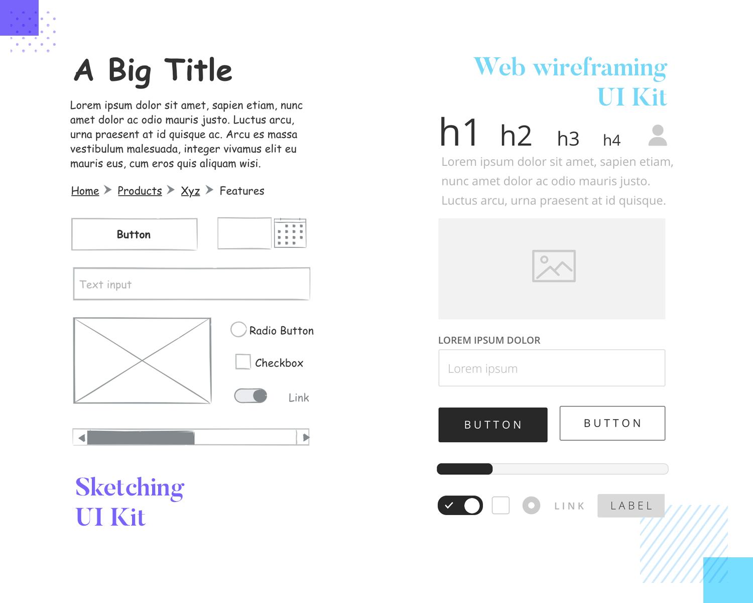 wireframing each screen with the right ui components