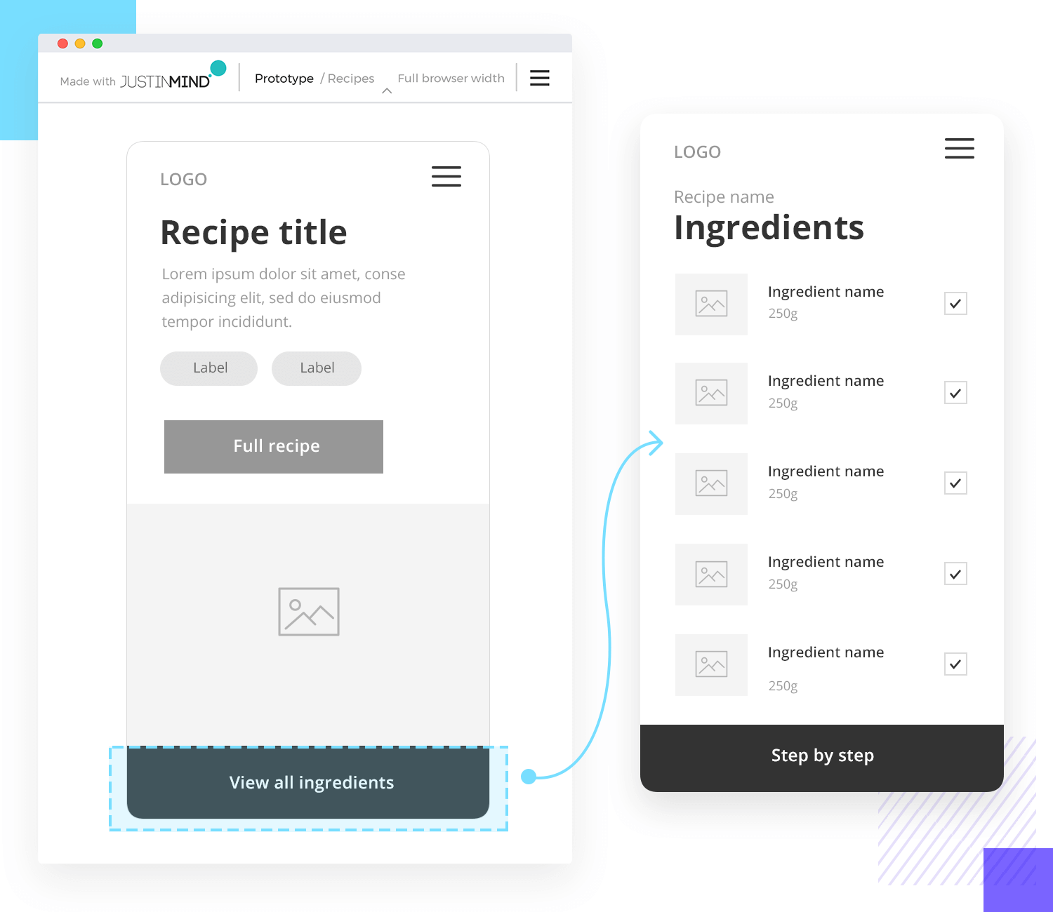 example of navigation interaction in app wireframe