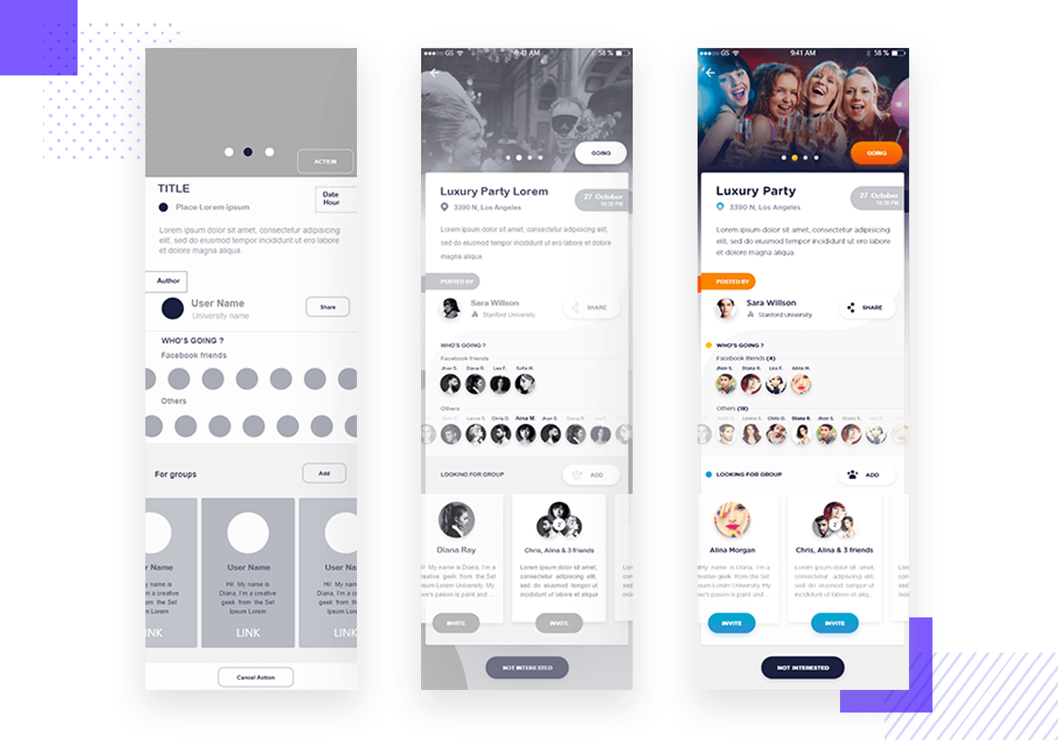 example of app wireframe for events