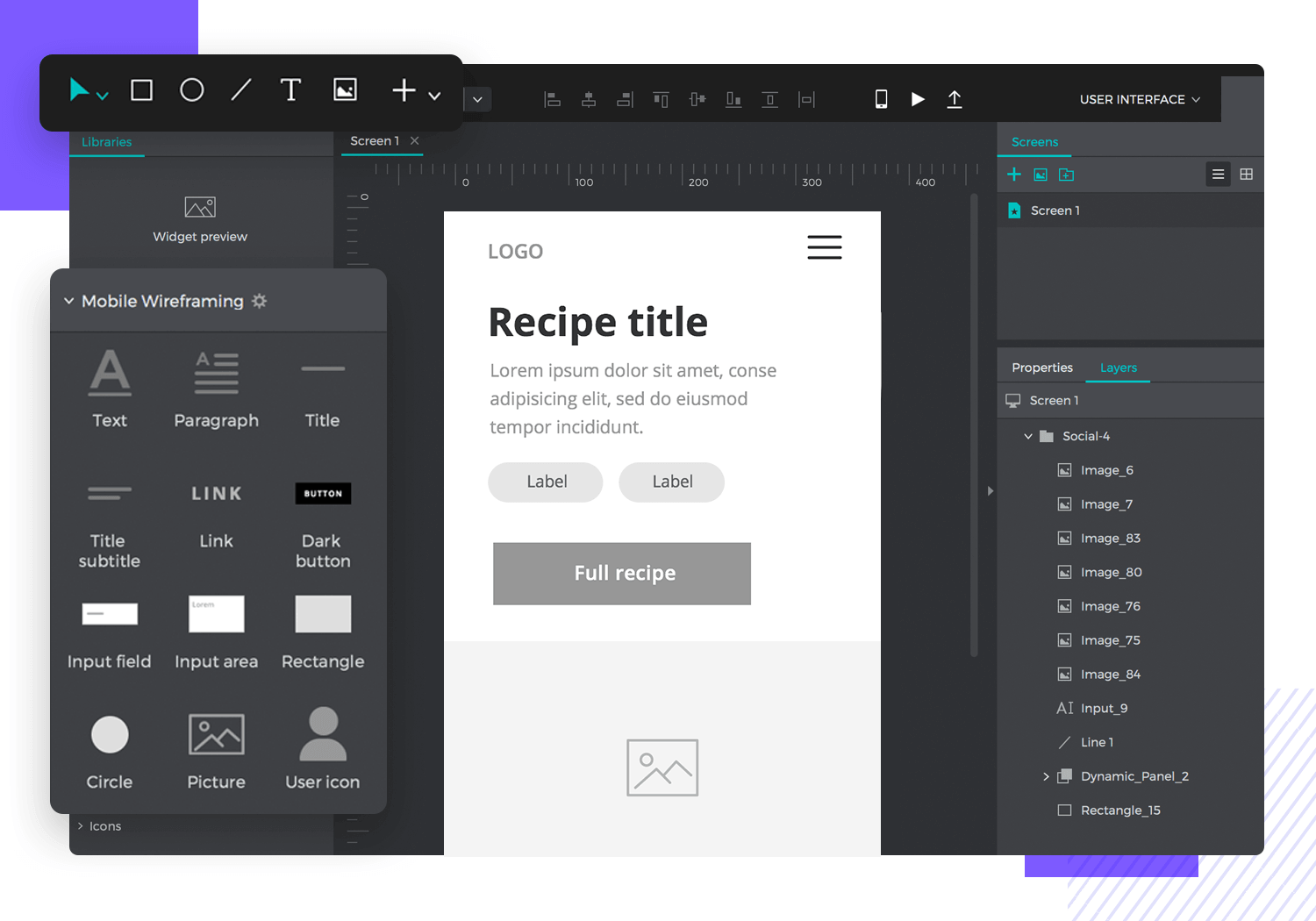 example of an app wireframing tool for UX design