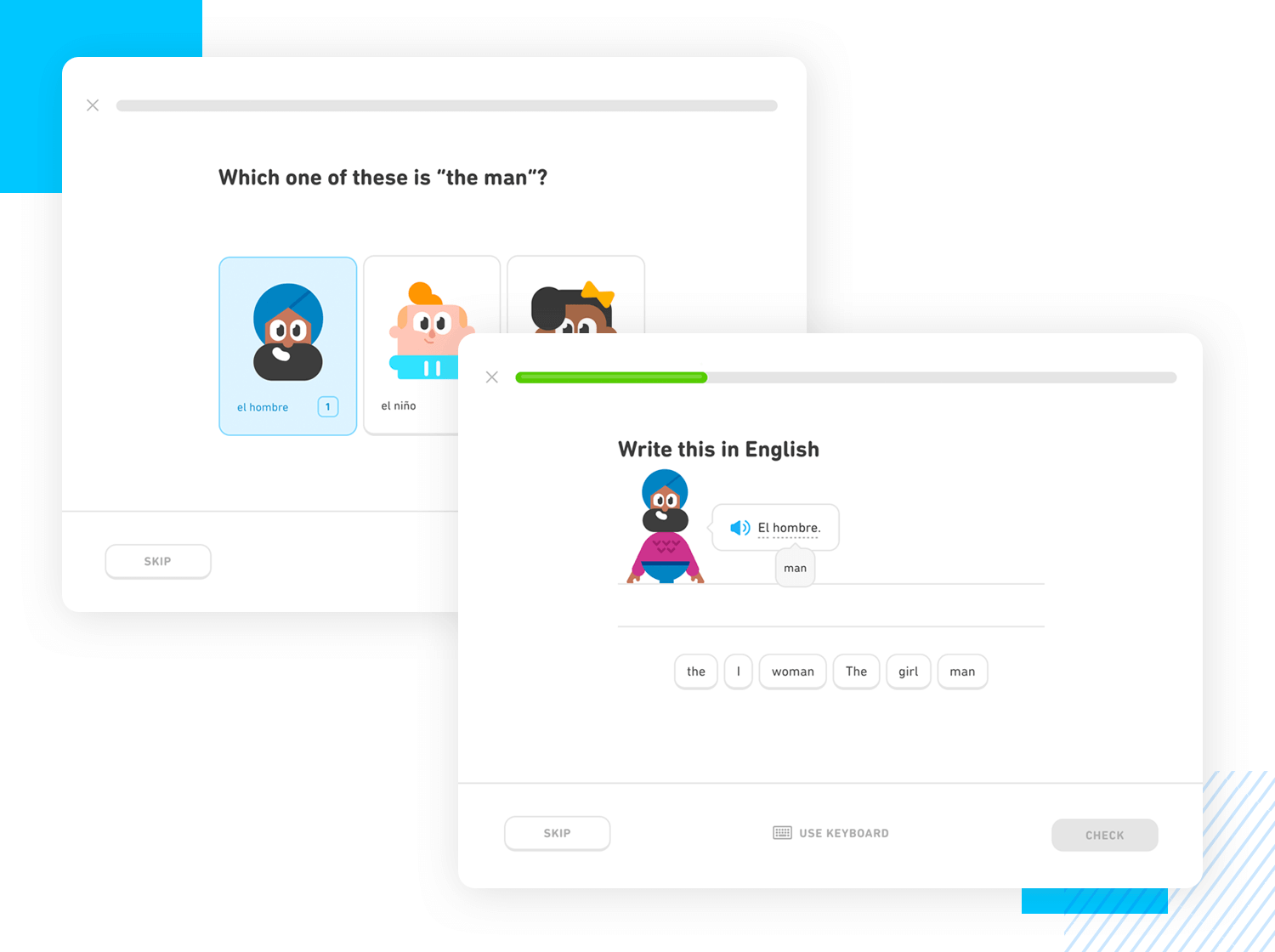 progressive learning example of duolingo