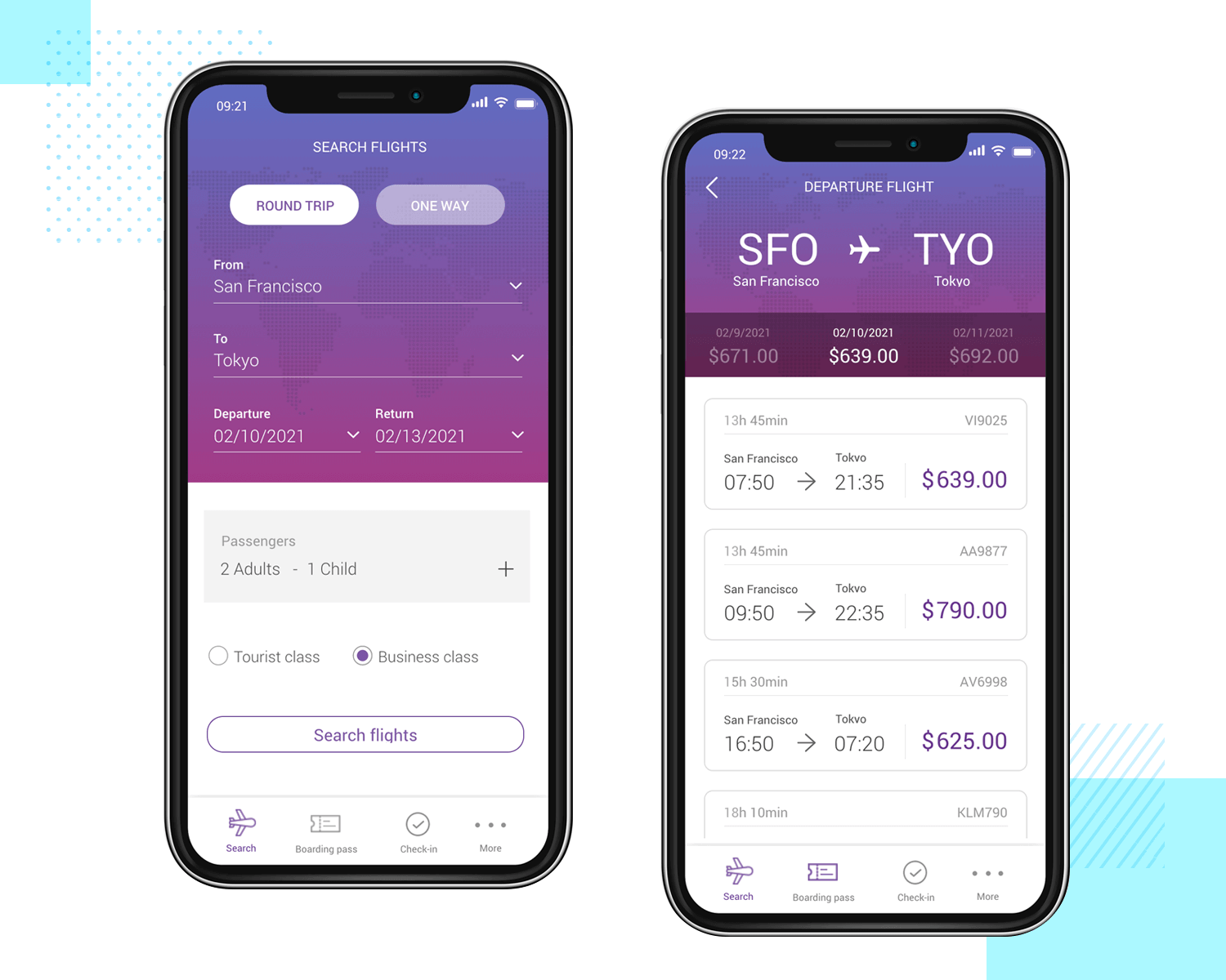 Example of a high fidelity flight-booking app from Justinmind