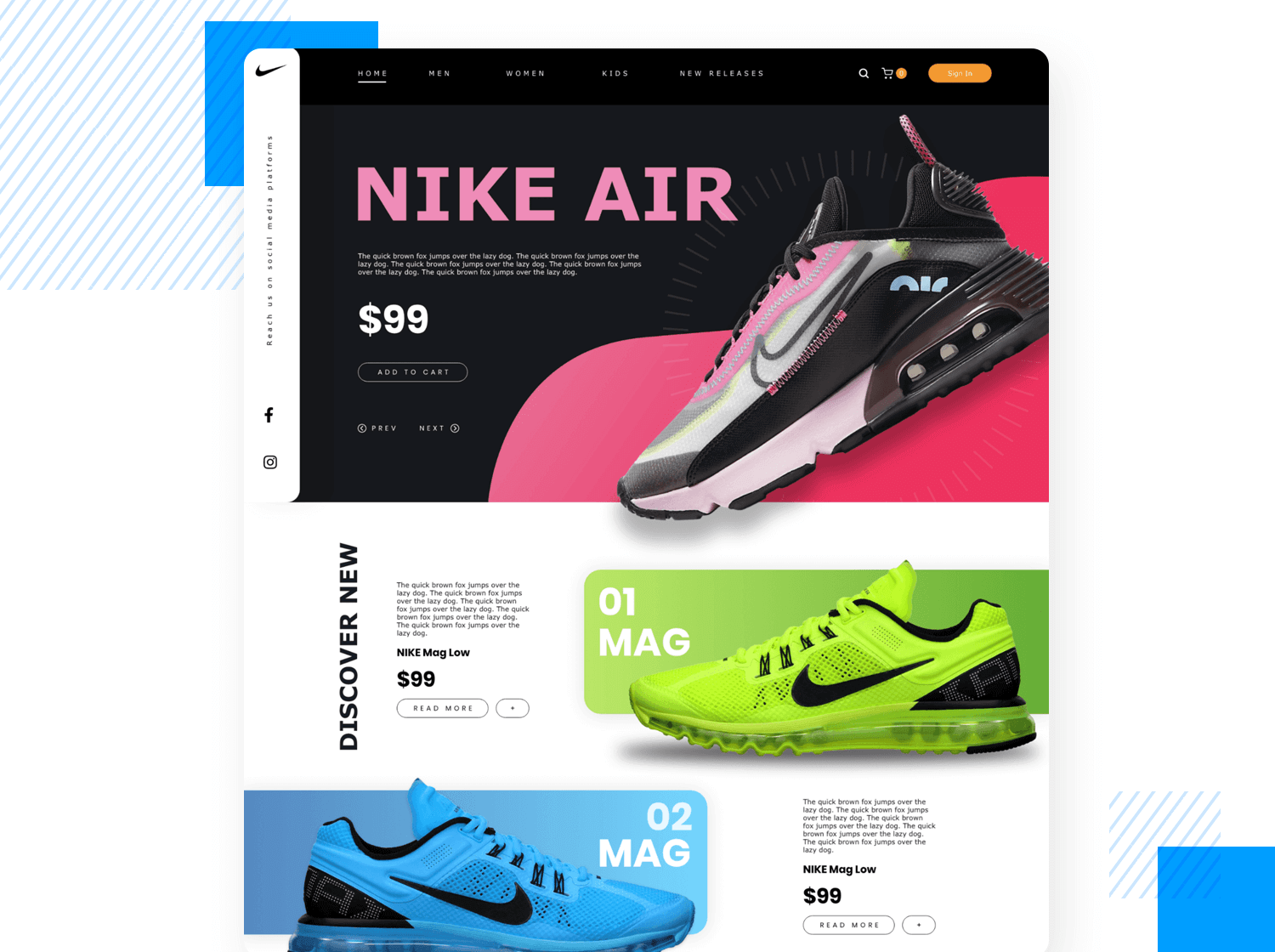 Example of a high fidelity prototype of a sportswear website
