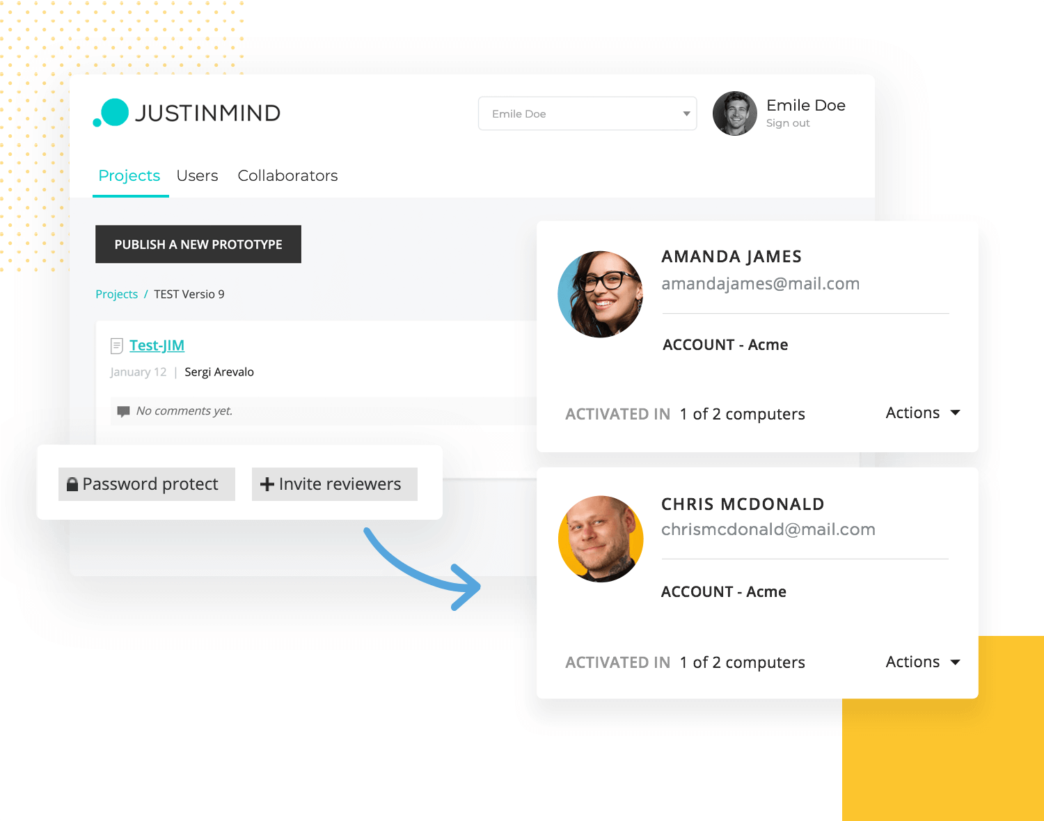 showing of how to invite developers in justinmind