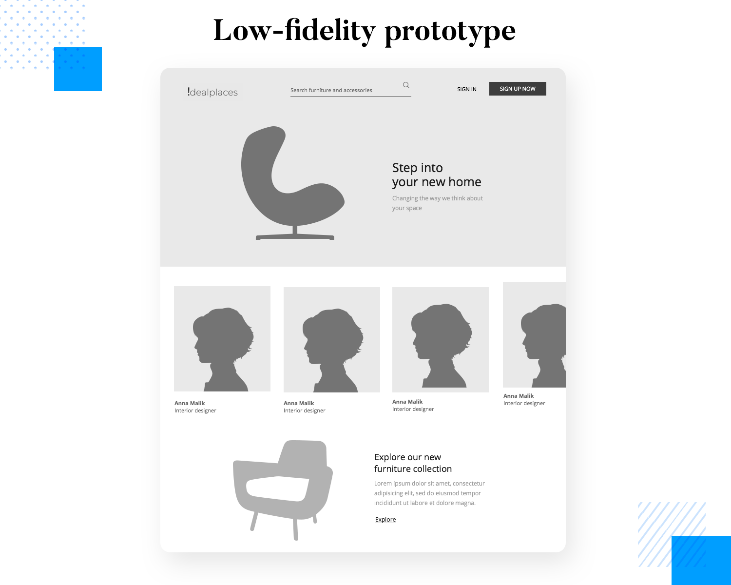 Low fidelity prototypes consist of outlines