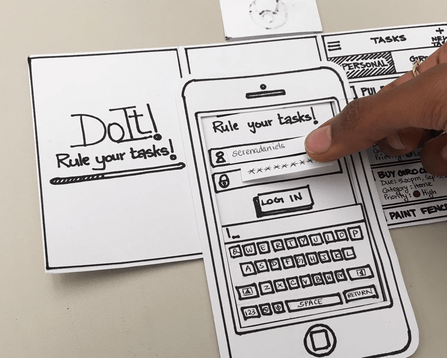 Paper prototyping with cutouts