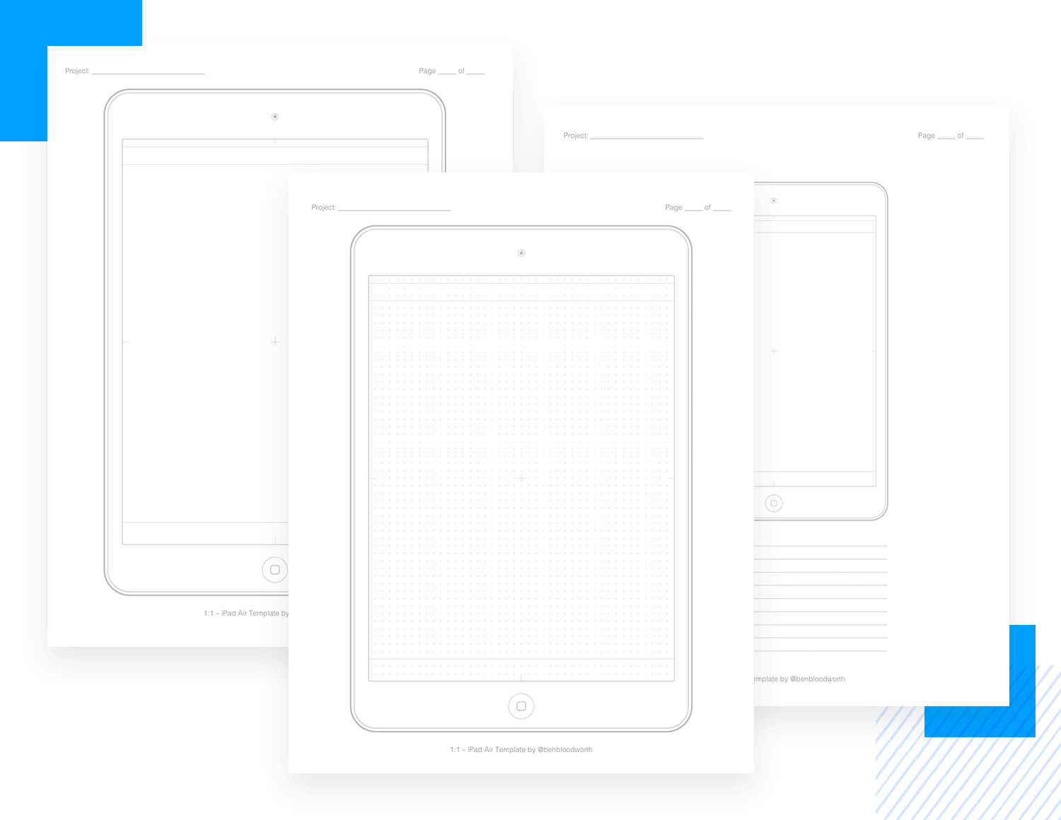 Paper prototyping templates for iPad Air