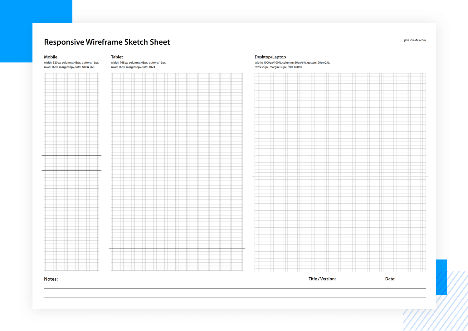 Paper prototyping templates - responsive sketch sheet
