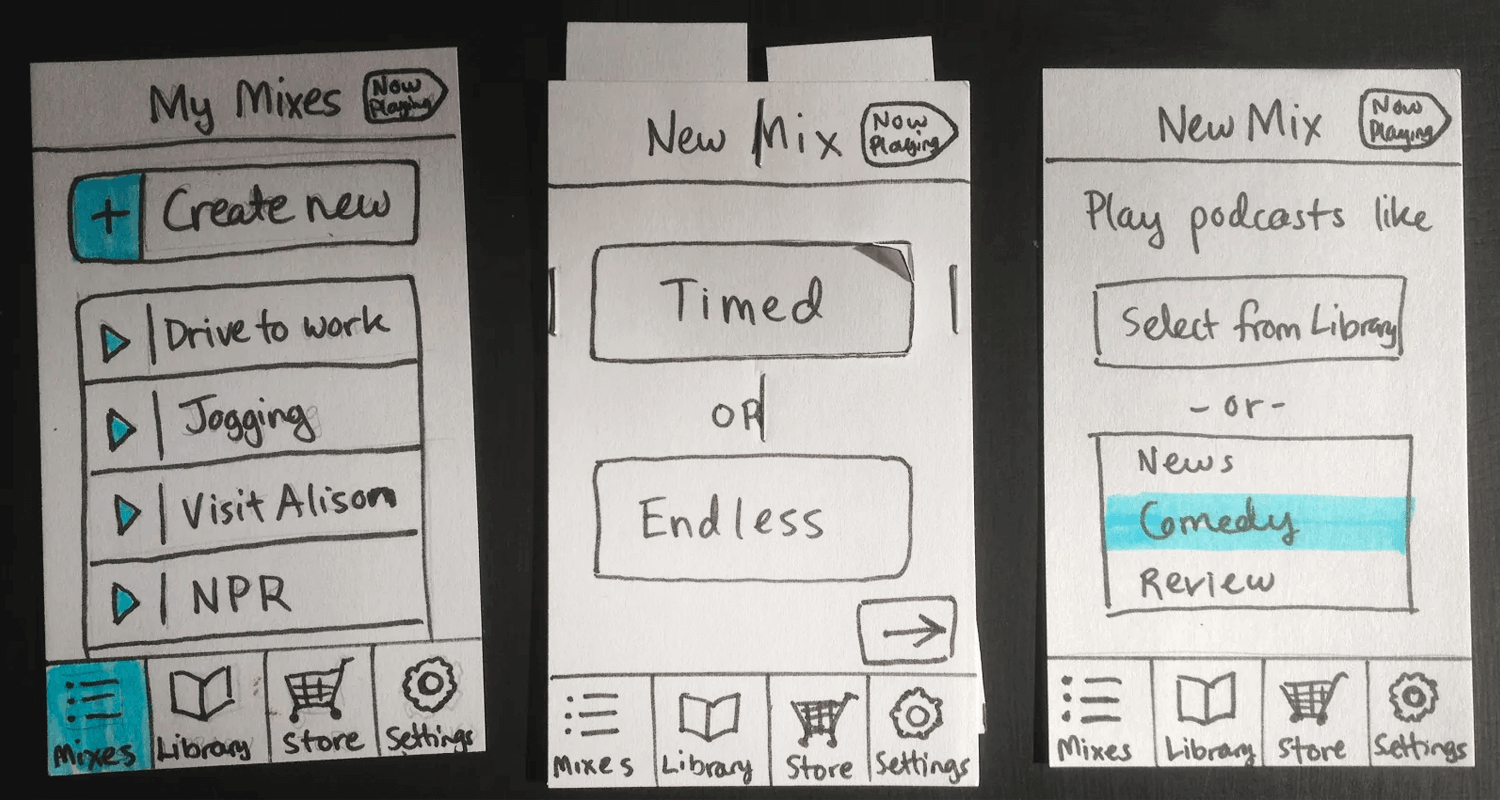 Paper prototyping - depicting user flows