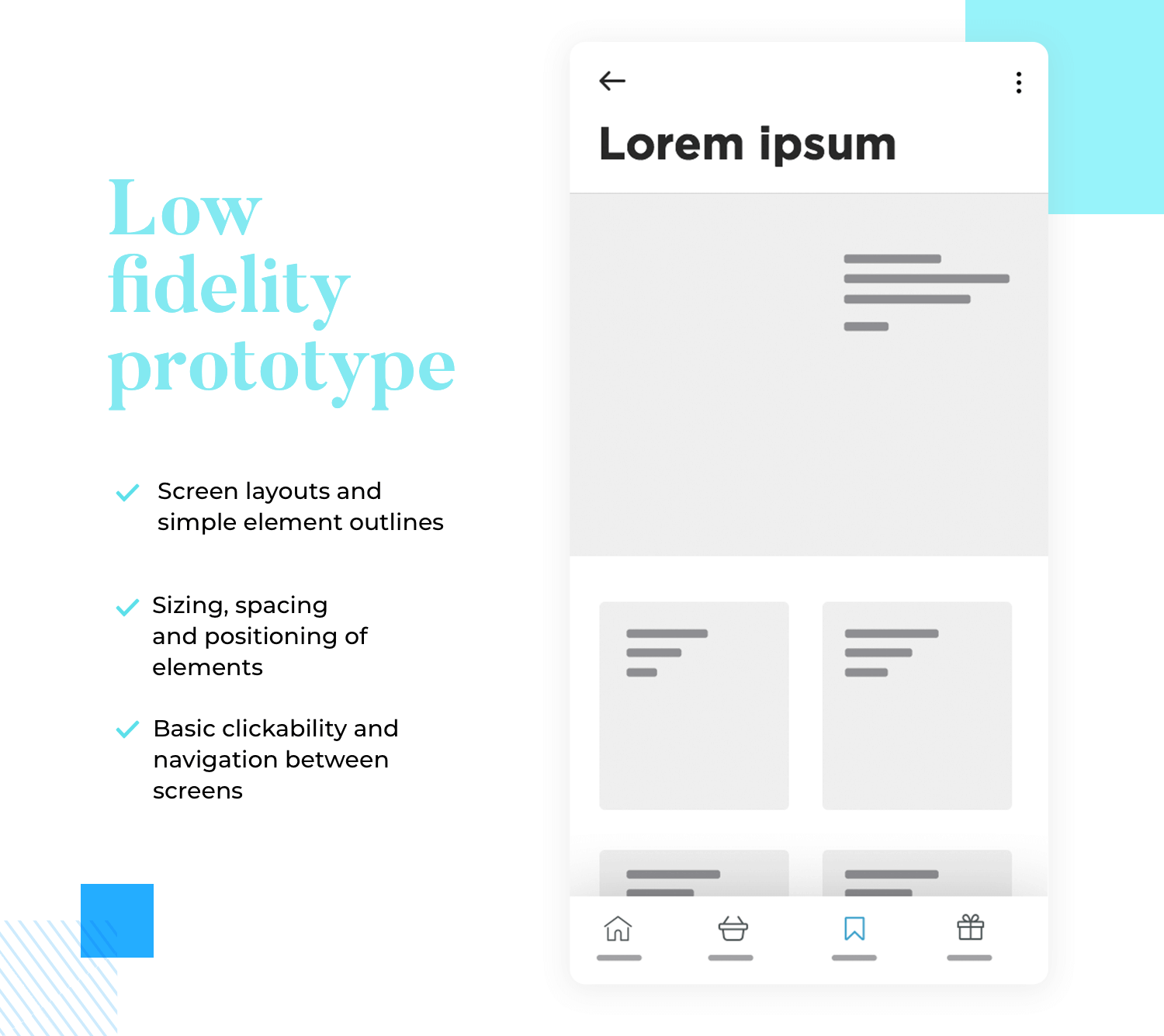 Prototyping - low fidelity wireframe