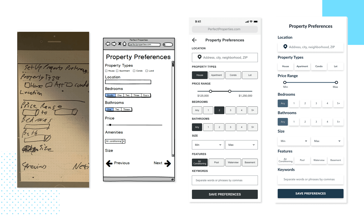 real estate app wireframe example