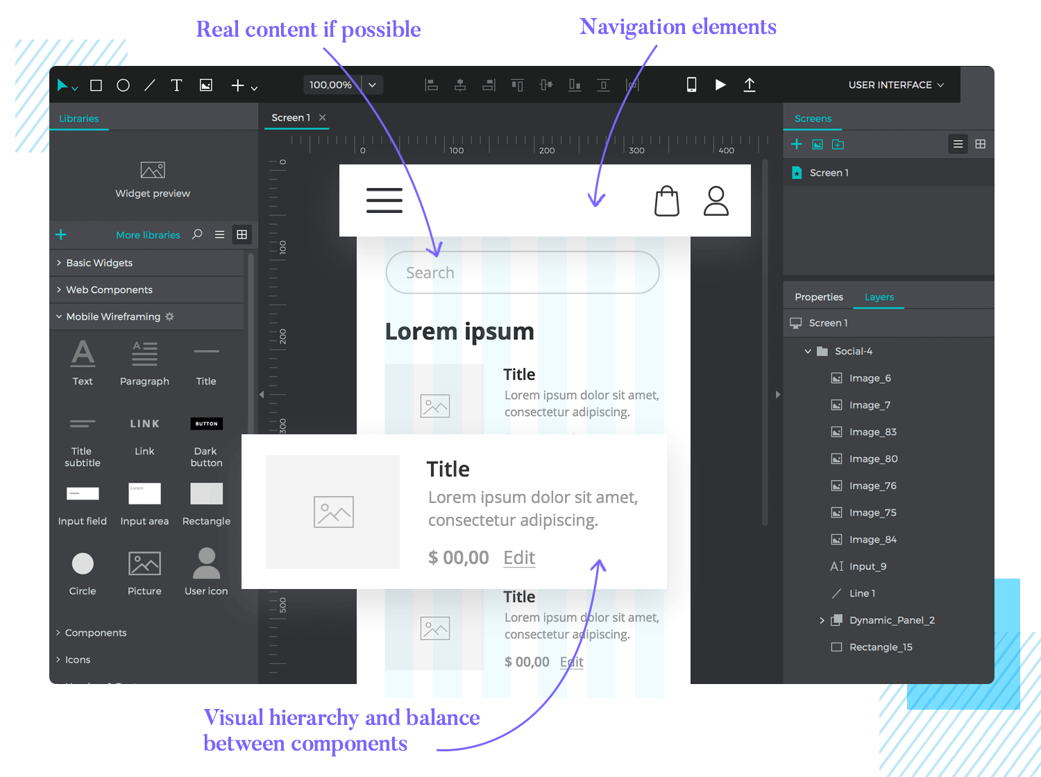 highlights of wireframing app screens and layout
