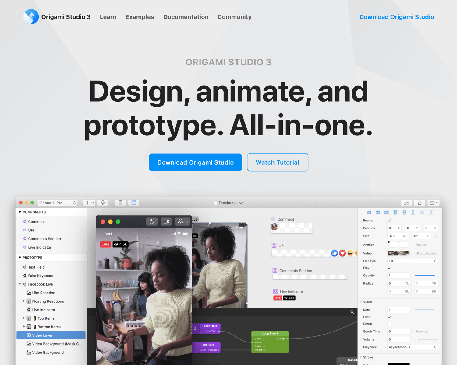 Best interaction design tools - Origami Studio