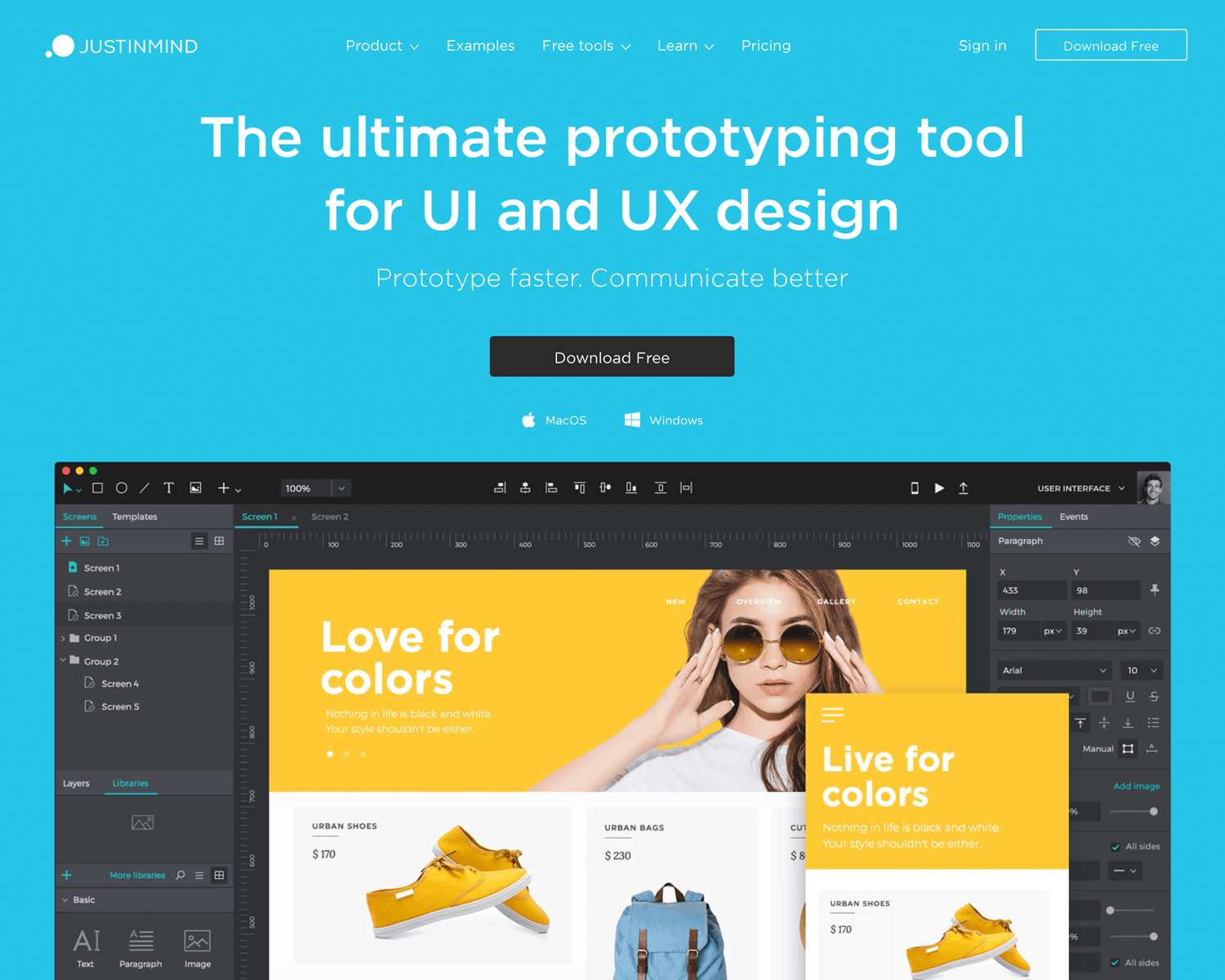 Best UI design tools - Justinmind