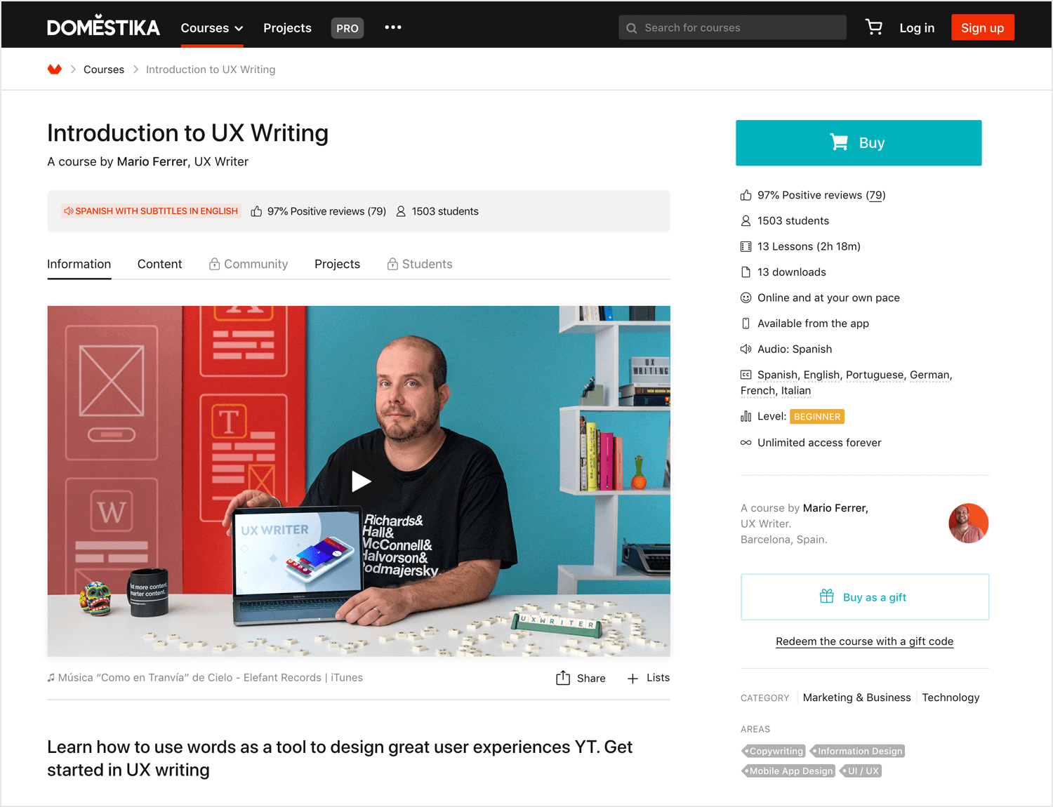 Introduction to UX Writing course