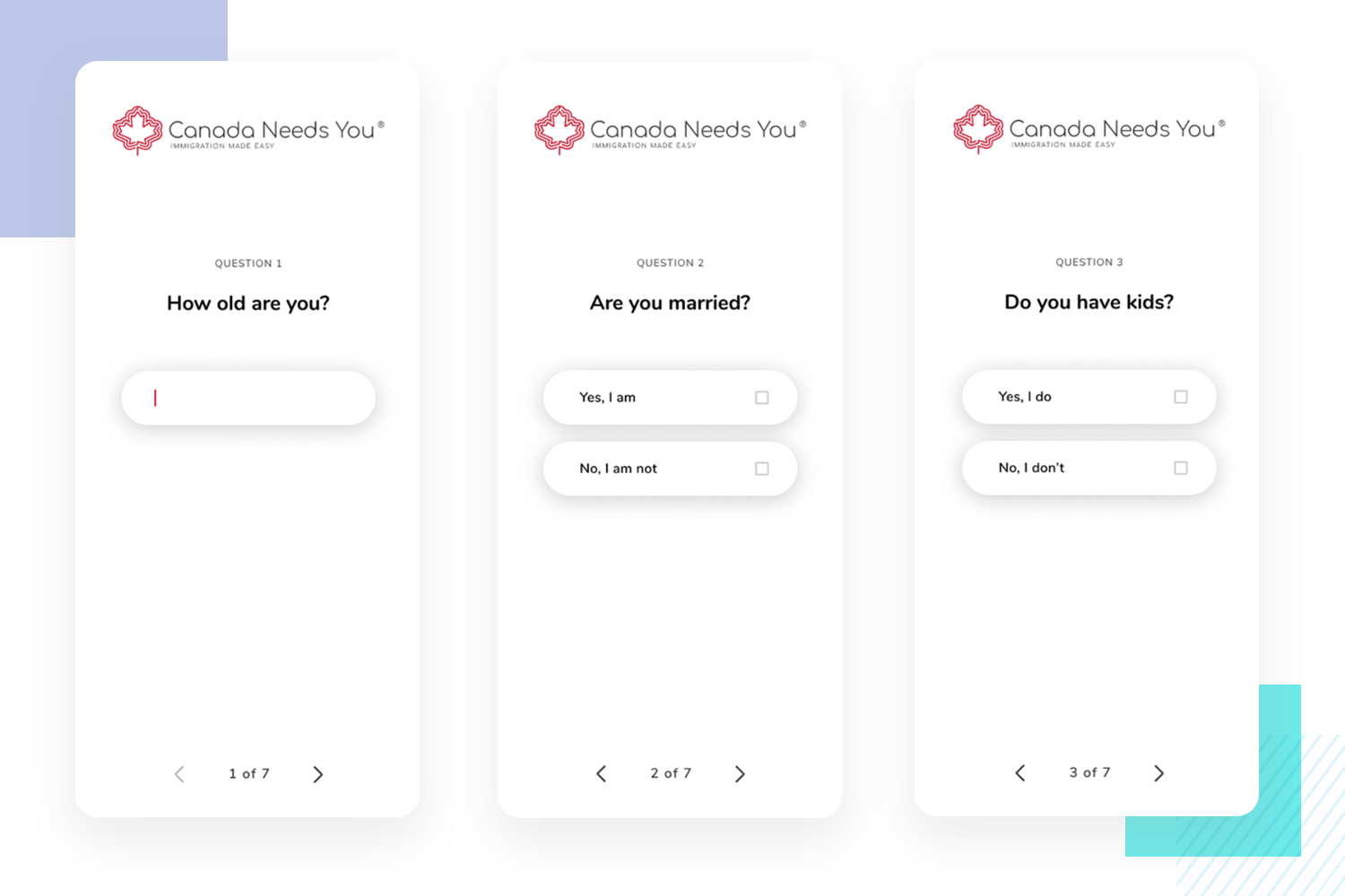 example of mobile survey with minimalist design