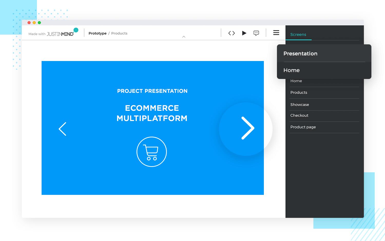 Prototype presentation techniques - slideshow presentation in Justinmind