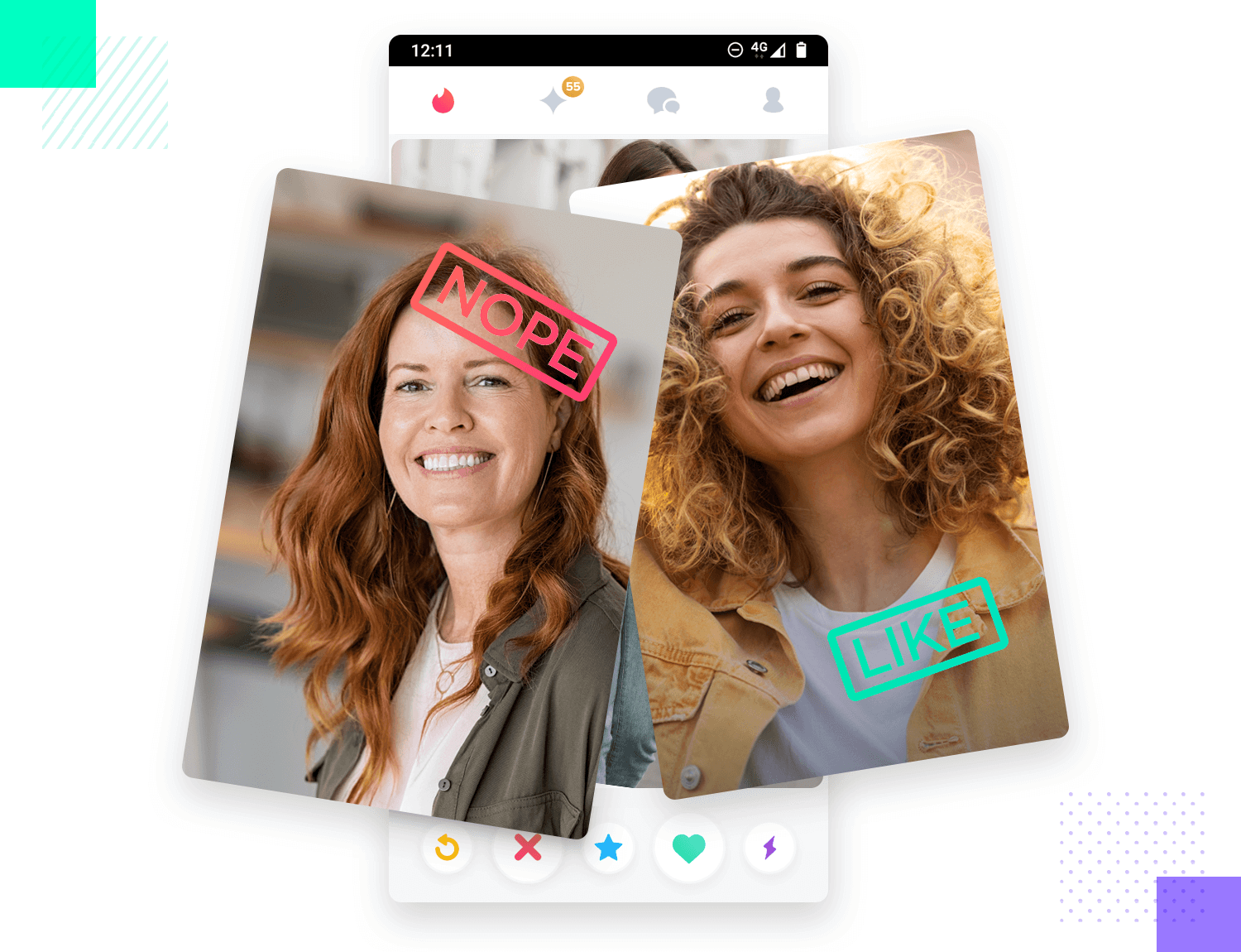 example of gesture navigation on tinder mobile app
