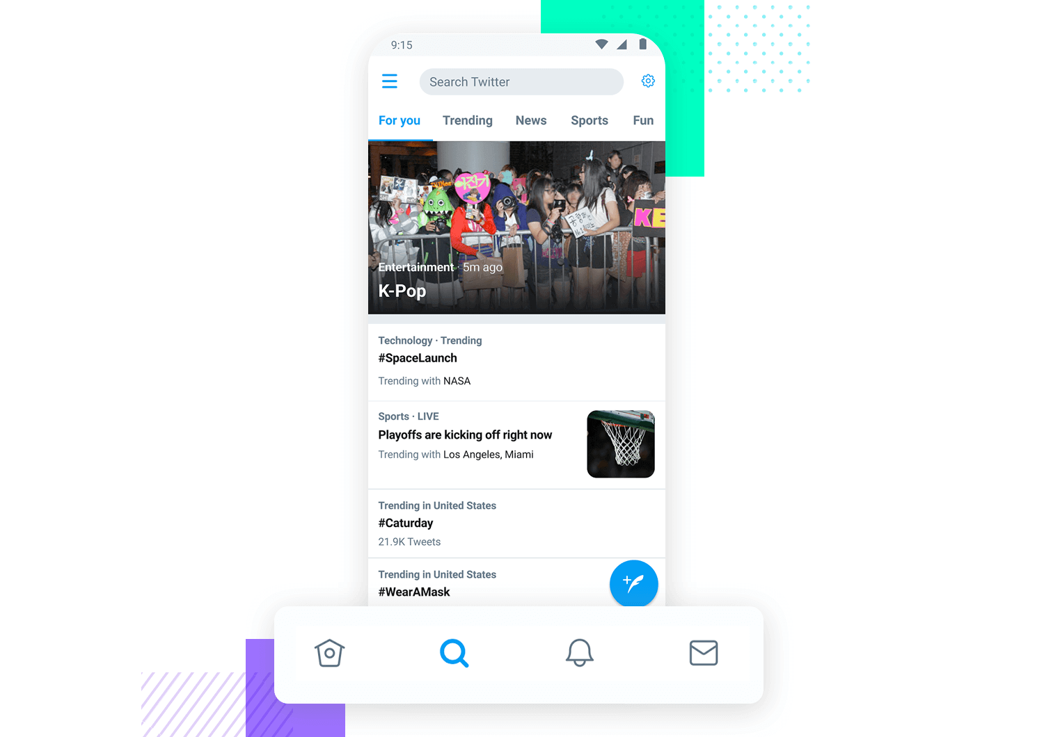 twitter example of mobile navigation with tabs