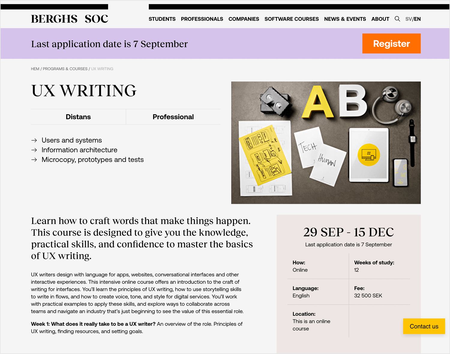 Berghs Soc UX Writing course