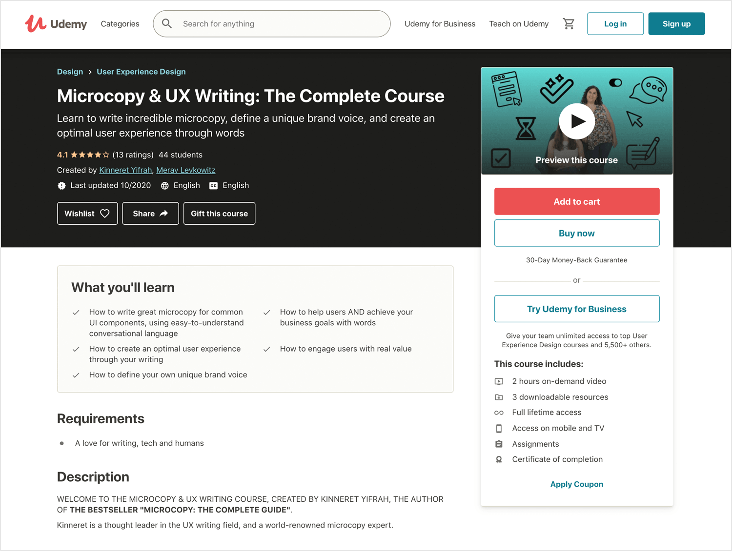 Microcopy & UX Writing course