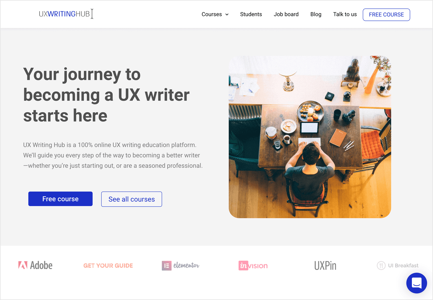 UX writing Hub course