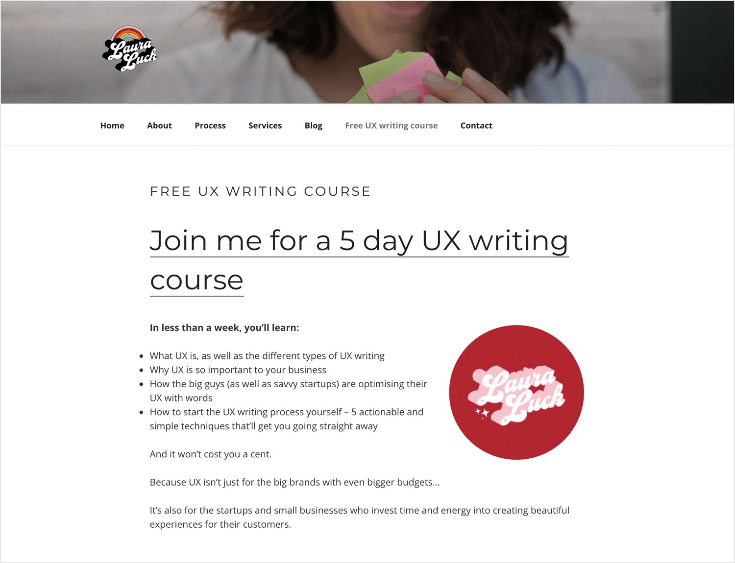 Free UX Writing Course by Laura Luck