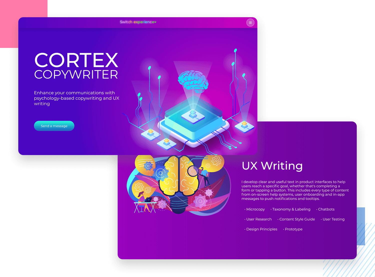 UX writing portfolio - Cortex Copywriter