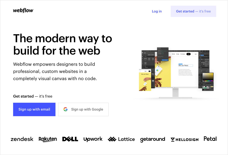 UX design tools - Webflow