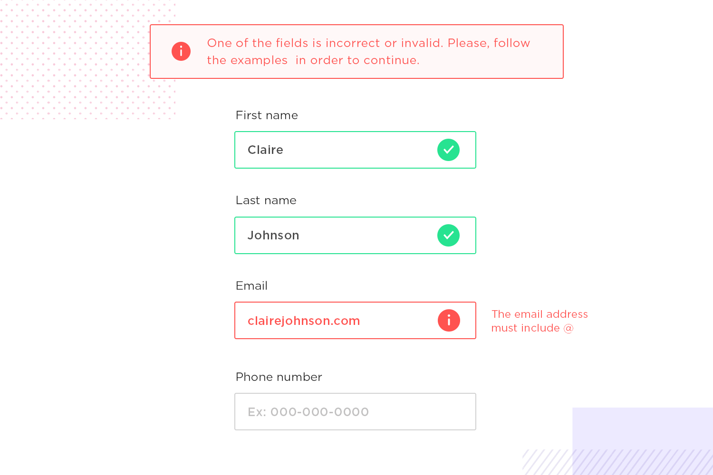 UX principles - example of an error tolerant form